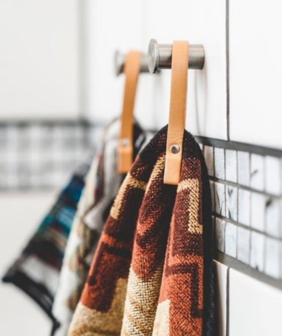 Image of NATURAL LEATHER TOWEL HANGERS