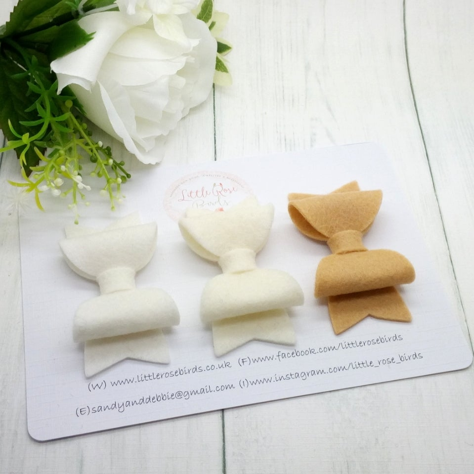 Image of SET OF 3 White/Ivory/Caramel Bows on Headbands or Clips
