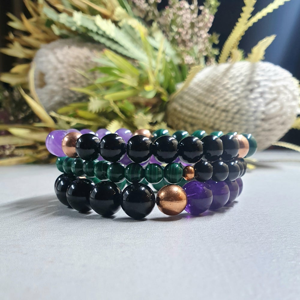 Image of ARTHRITIS & JOINT PAIN Bracelet - Amethyst - Malachite - Black Tourmaline