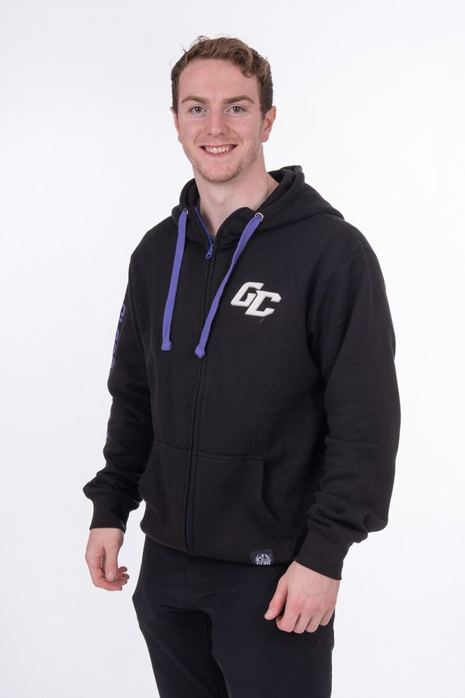 Image of Black Zipper Hoodie with logo