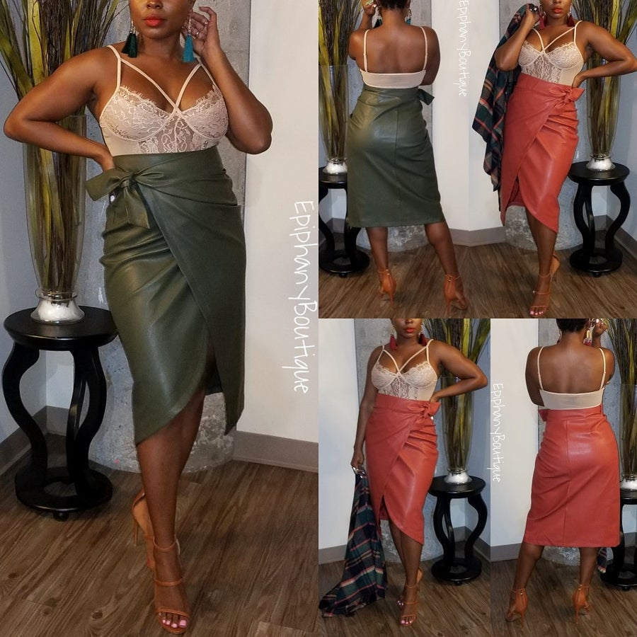 Image of The Leather Wrap Skirt