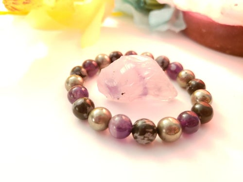 Image of Protection Bracelet | Natural Amethyst | Pyrite | Snowflake Obsidian | Protection Stone Crystals