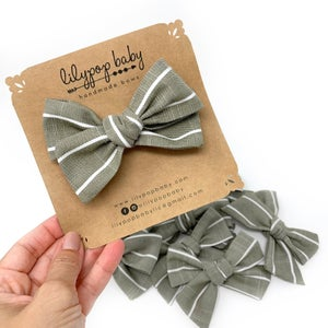 Image of Green Linen Stripe Bow (Ready to Ship)