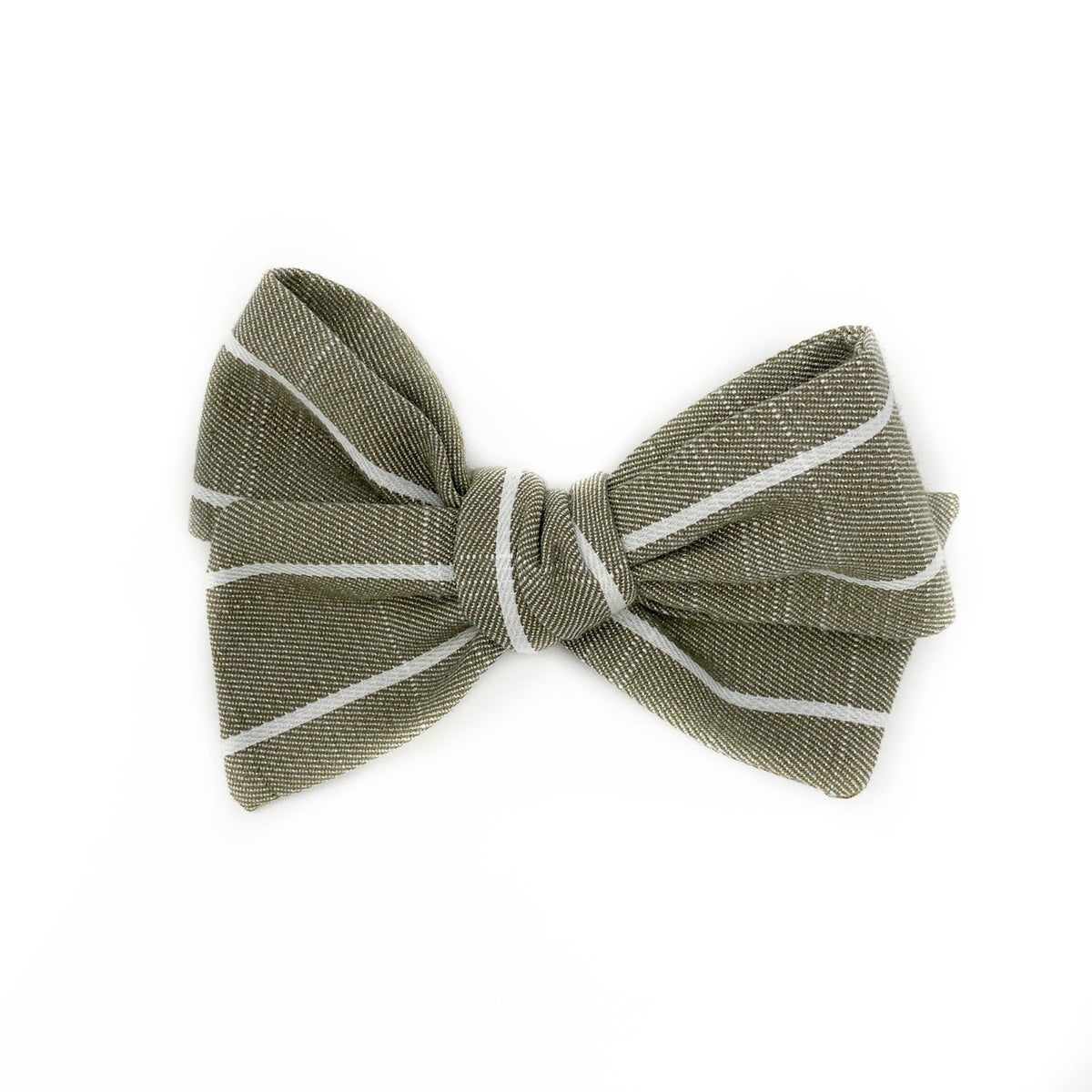 Image of Green Linen Stripe Bow