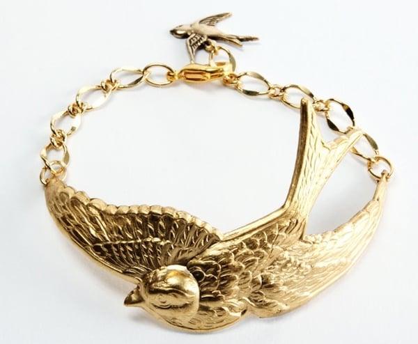 Image of Gold swallow bracelet