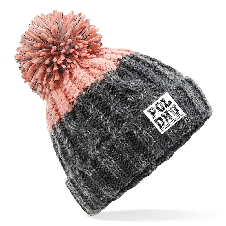 Image of PINK TIP CHUNKY BOBBLE HAT