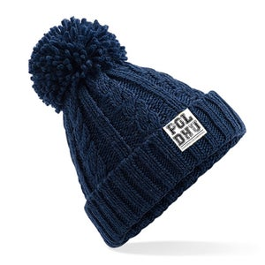 Image of CABLE KNIT BOBBLE - NAVY