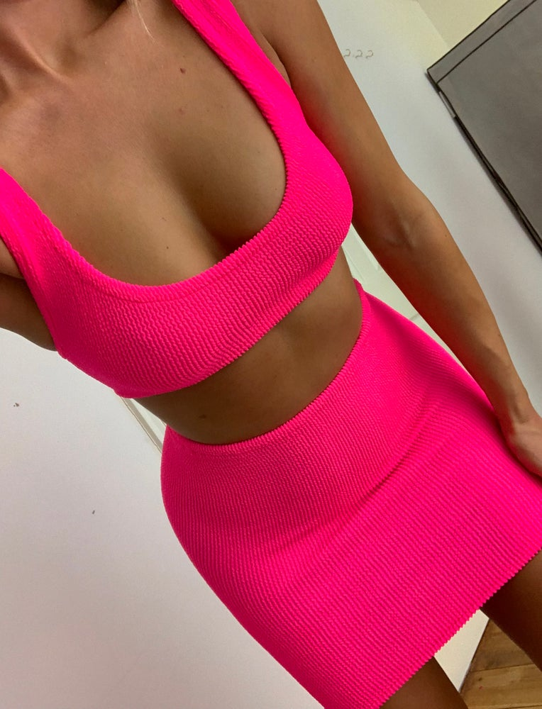 Image of Neon Pink Mini Crop Skirt OR Shorts Co-Ord