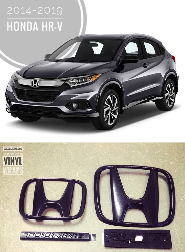 "Image of 2014-2019+ Honda HR-V, front/Rear ""H"" BLACKOUT emblems"