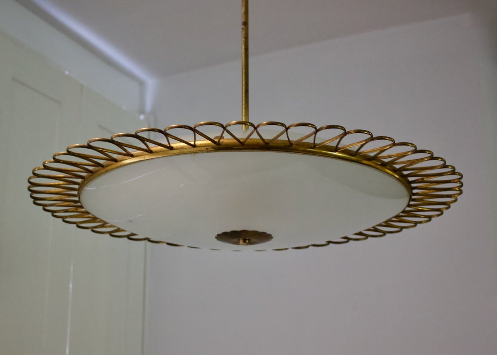 Image of  Italian Glass Pendant Light with Decorative Brass Frame