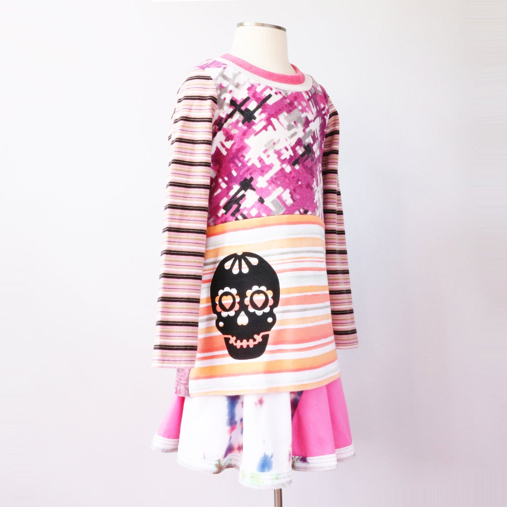 Image of dia de los muertos 5/6 6 day of the dead prints pink tie dye tiedye dyed twirly flared skirt set