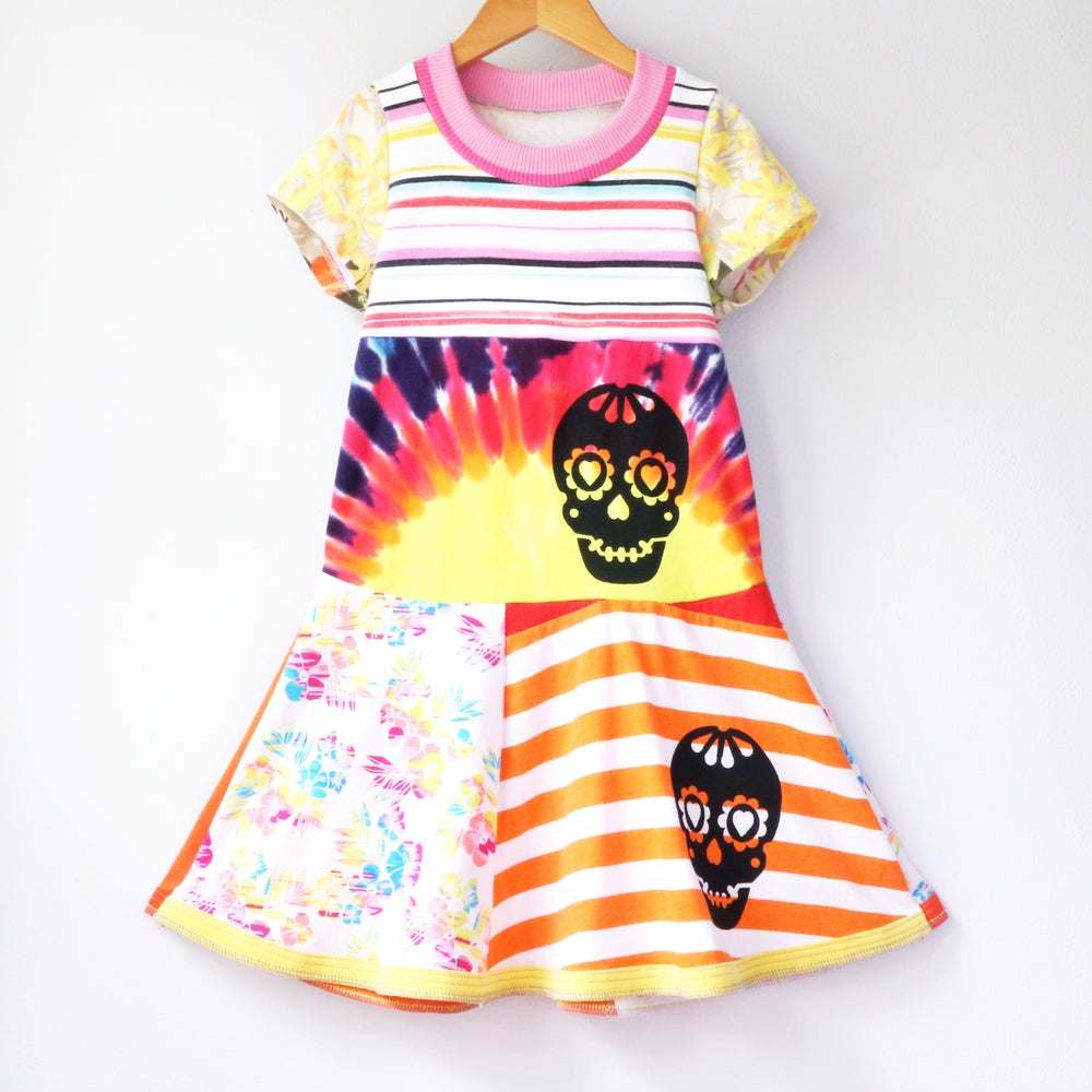 Image of dia de los muertos tiedye rainbow 6/7 stripes short sleeve day of the dead twirly colorful dress