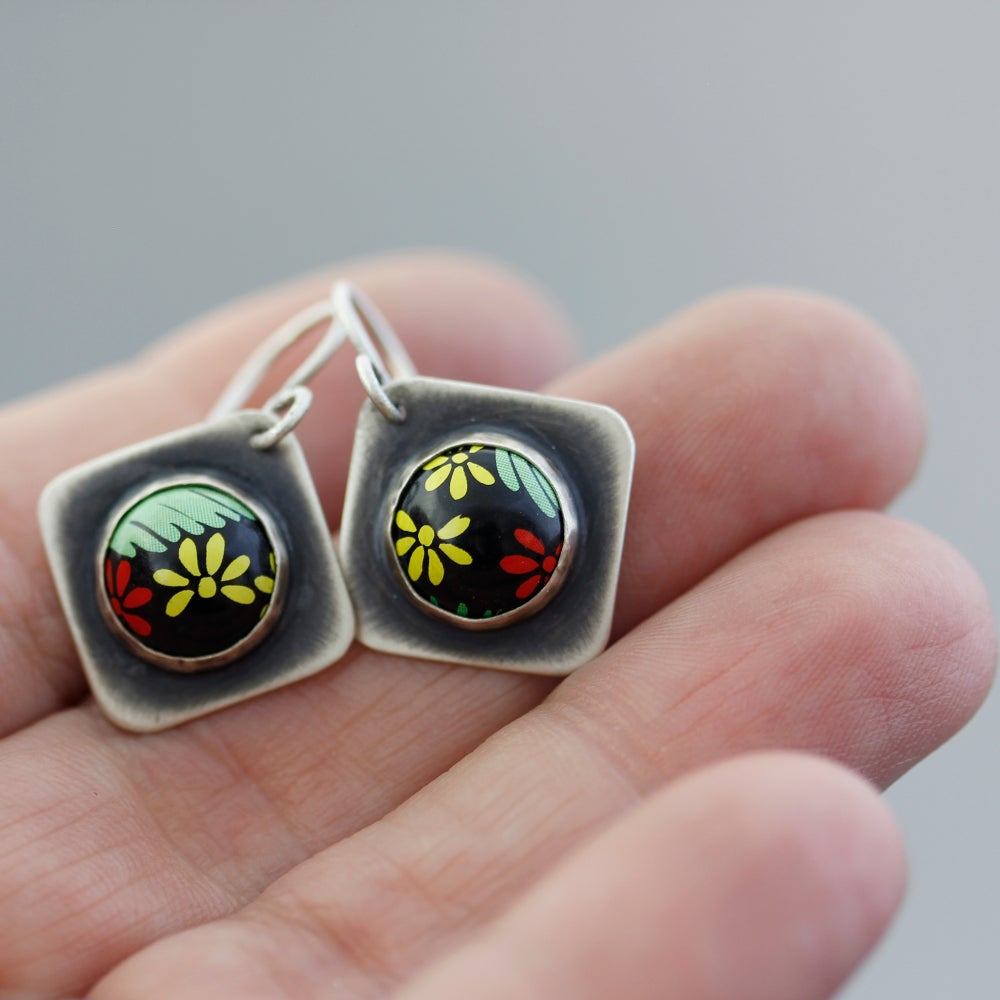 Image of Sterling Silver and Leatherwood Honey Flower Earrings