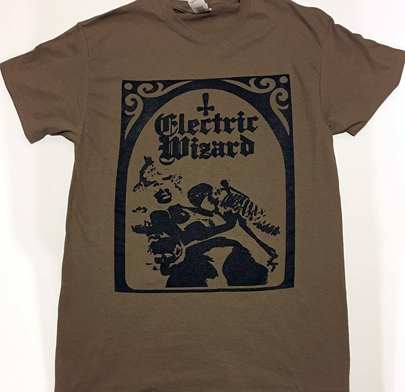 "Image of Electric Wizard "" Legalise Drugs and Murder "" Light Brown T-shirt"