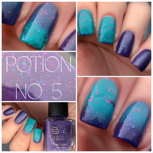 Image of Potion no. 5 – thermal is a blurple cold - jade green when warm it has Ultra Chameleon