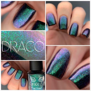 Image of Draco – aurora shimmer polish moves from emerald green to purple with pink and blue