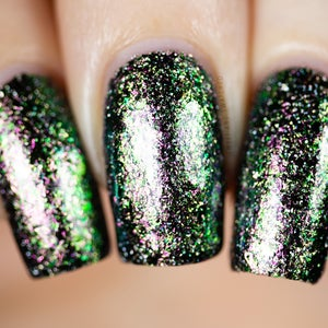 Image of Our Hero – base of Ultra Chameleon Flakes in green/gold/fuchsia with holo flakes