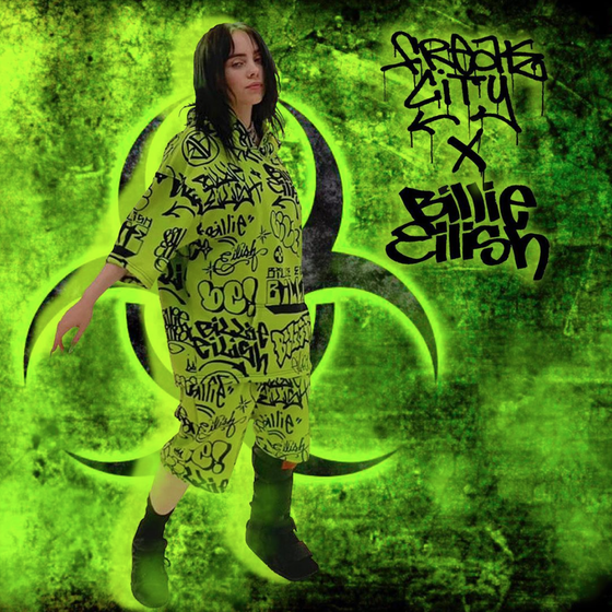 Image of Freak City X Billie Eilish green graffiti shorts sold separately