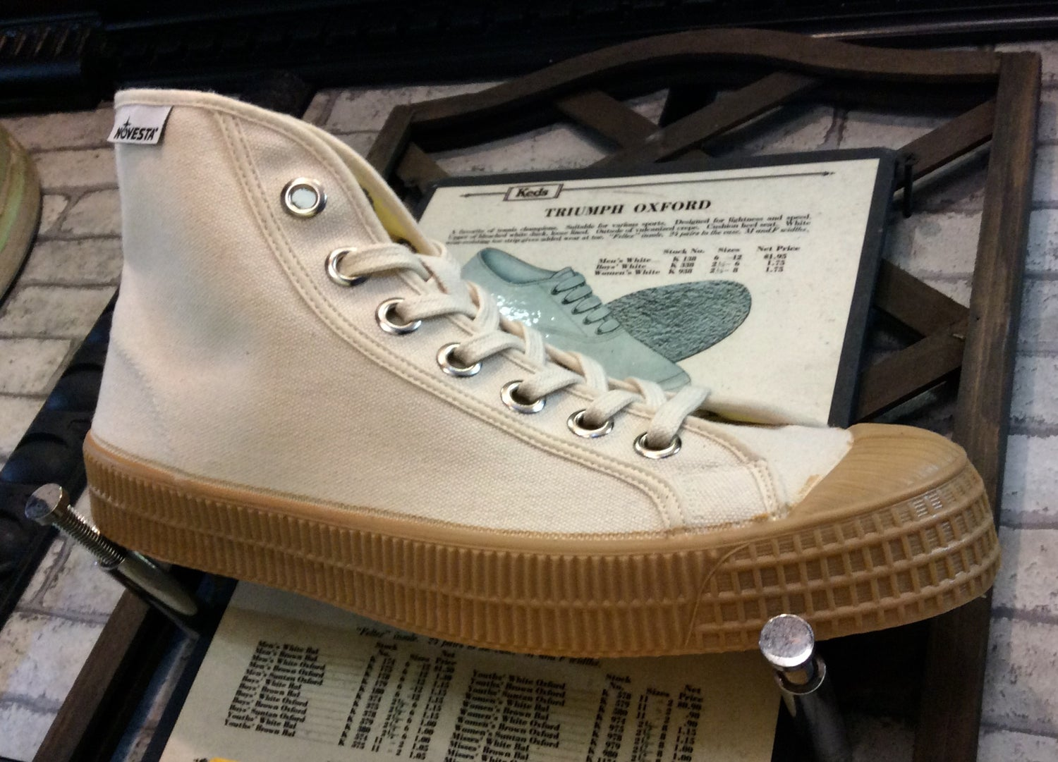 Image of Novesta dribble hi beige canvas sneaker shoes made in Slovakia