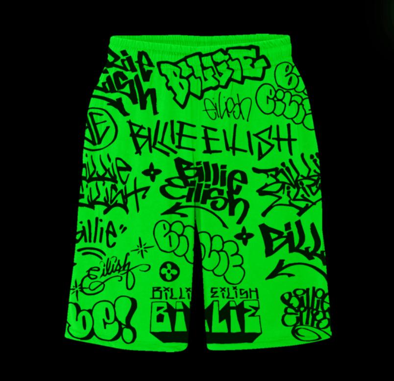 Image of Freak City X Billie Eilish green graffiti hoodie set