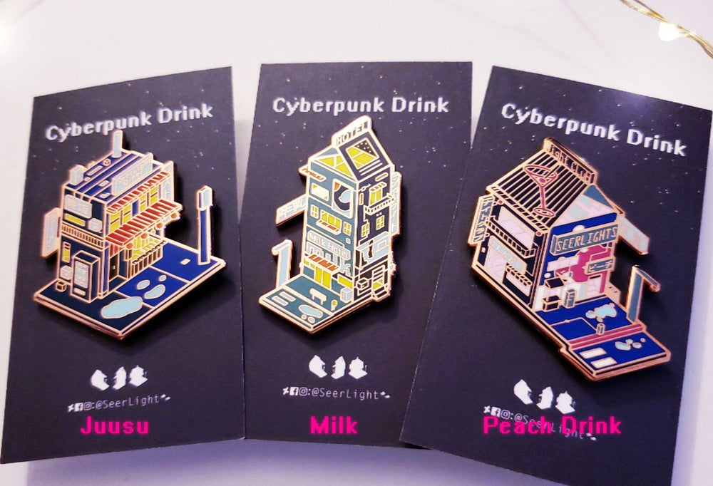 Image of Cyberpunk Drink Enamel Pins Series