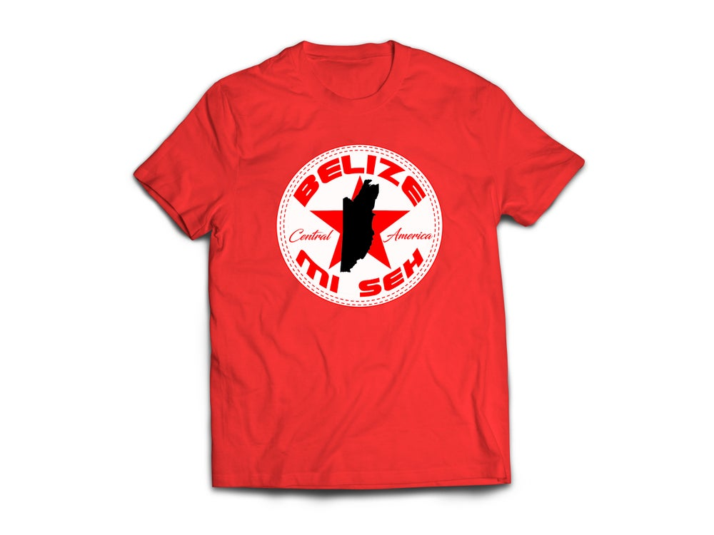 Image of BELIZE - T-SHIRT - RED/ RED STAR/BLACK MAP