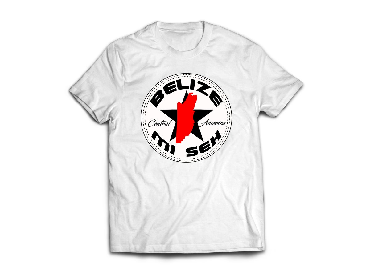 Image of BELIZE - T-SHIRT -  WHITE/BLACK/RED MAP