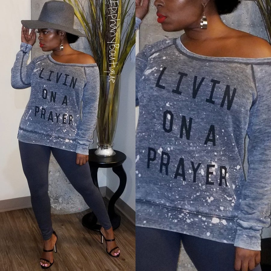 Image of Livin On a Prayer Sweater-**Reg & Plus/Curvy**