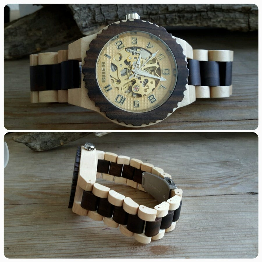 Image of Montre en bois automatique beige