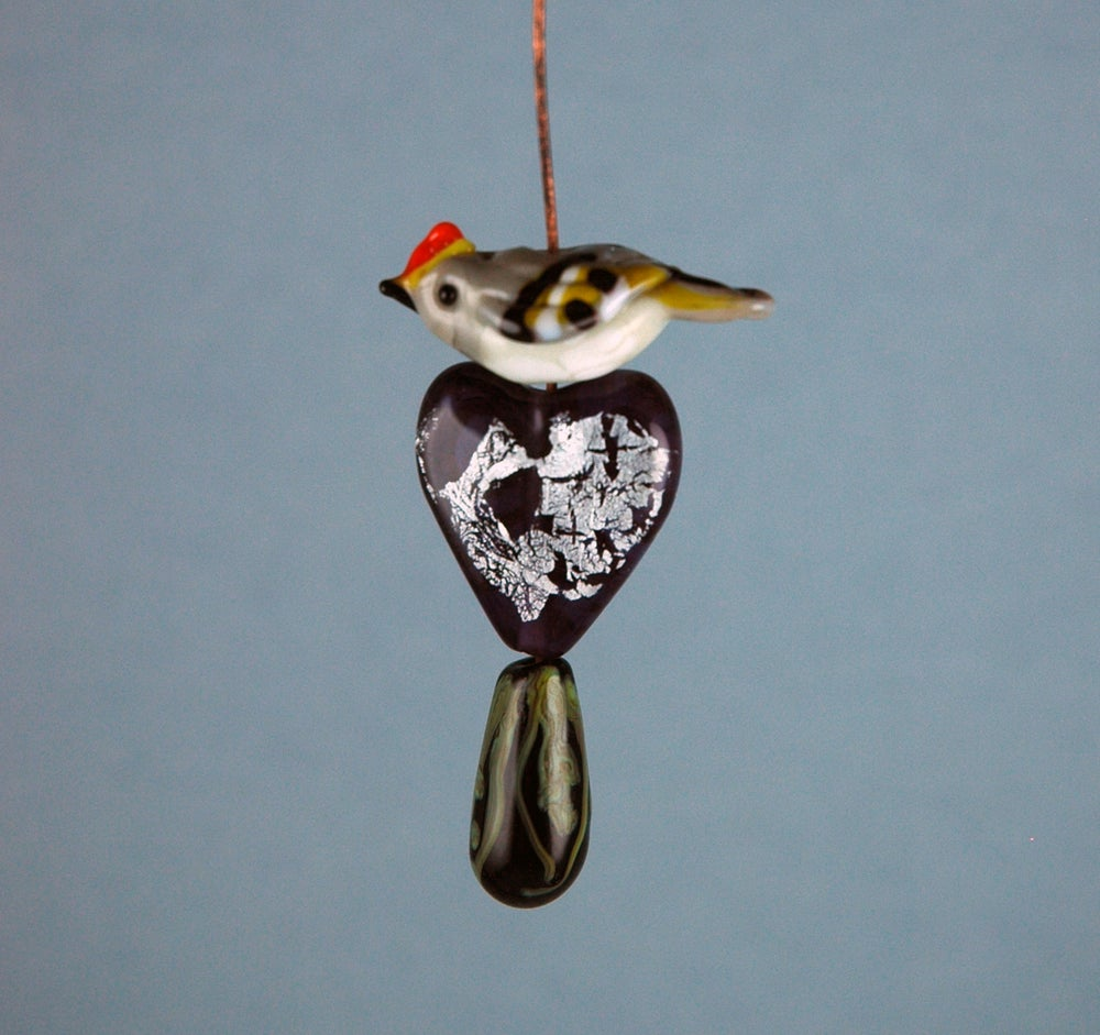 Image of Ruby Crowned Kinglet set (4 beads)