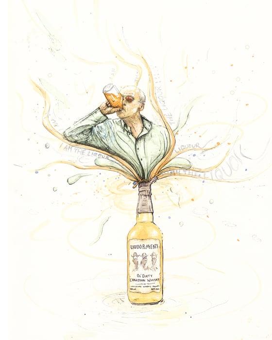 Image of Jim Lahey - Custom print and original painting of Liqourmen's bottle