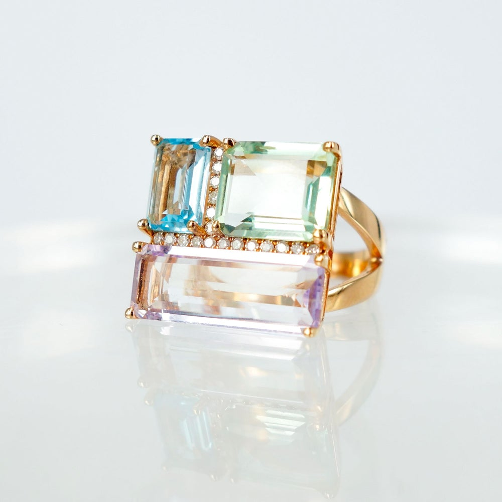 Image of Coloured gemstone Cubism dress ring