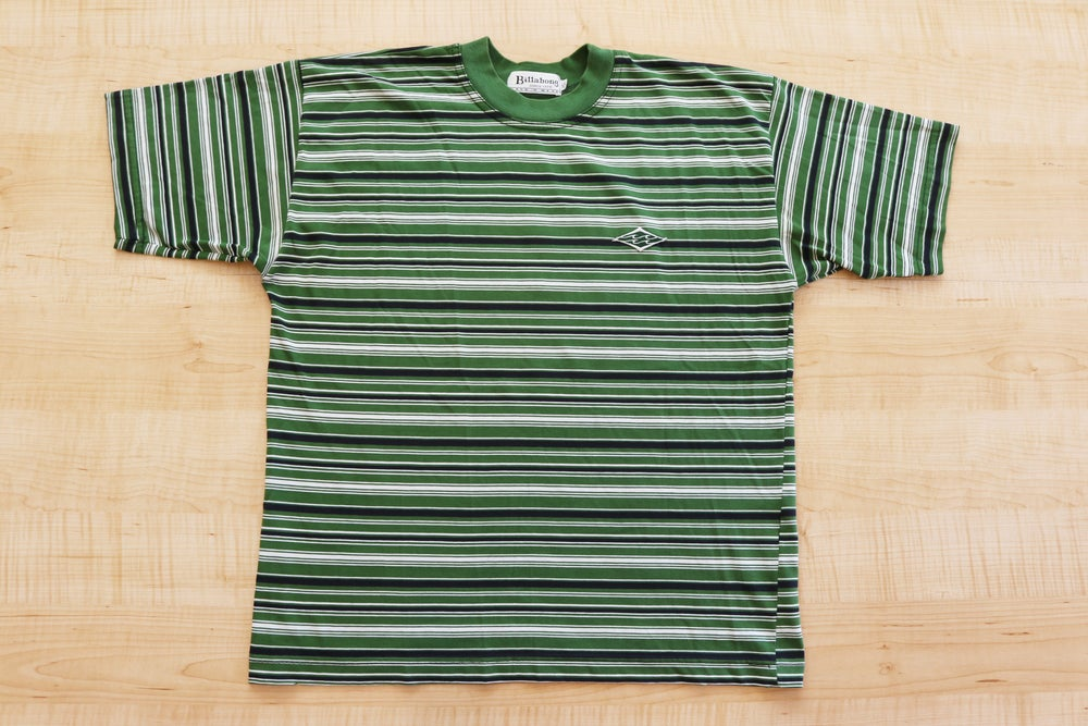 Image of Vintage 1990's Billabong Surfing Green Striped T-Shirt Sz.XL