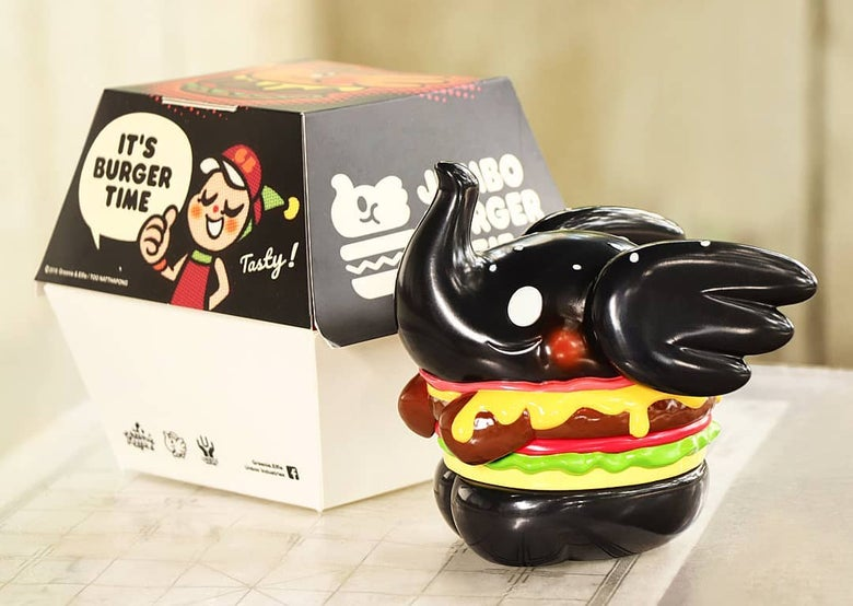 Image of Greenie and Elfie x Unbox - Black Hamburger Elfie.
