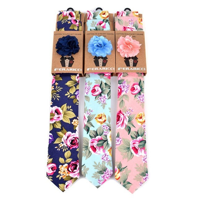 Image of Men's Cotton Skinny Tie w/ Hanky and Flower Lapel Pin