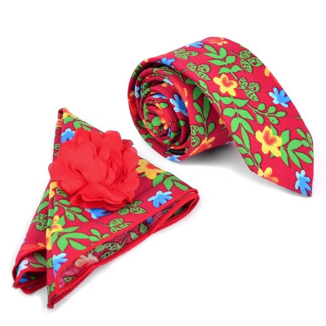 Image of Men's Bright Floral Skinny Tie w/ Hanky and Flower Lapel Pin
