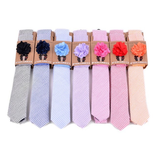 Image of Men's Seersucker Striped Tie w/ Hanky and Flower Lapel Pin