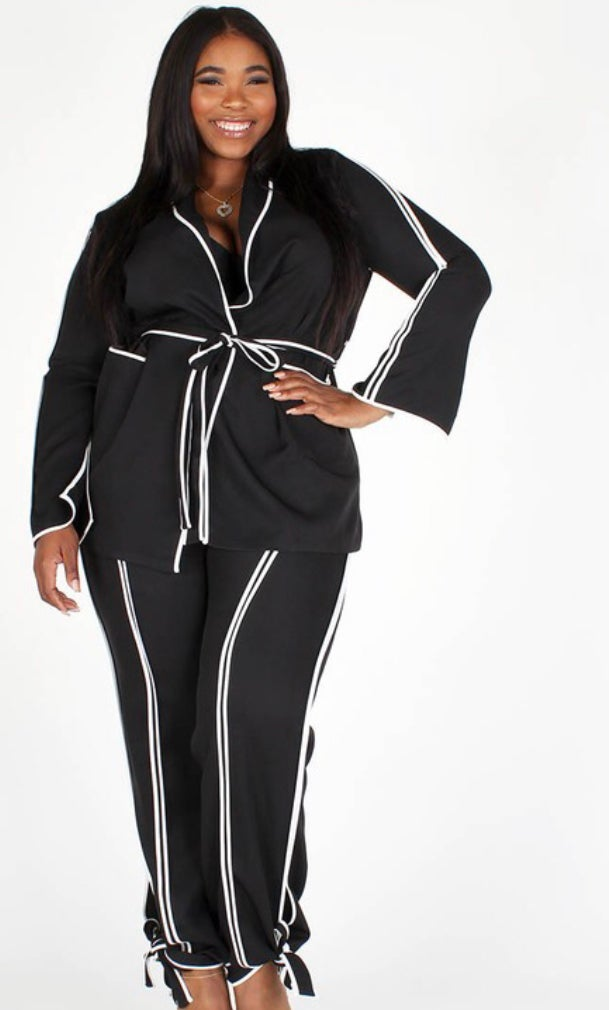 Image of Black with White Stripes 2 piece set