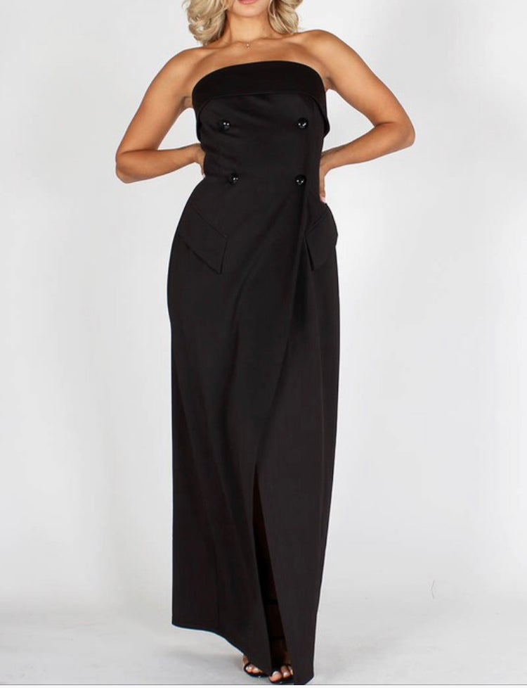 Image of Solid Strapless Maxi Dress with front slit