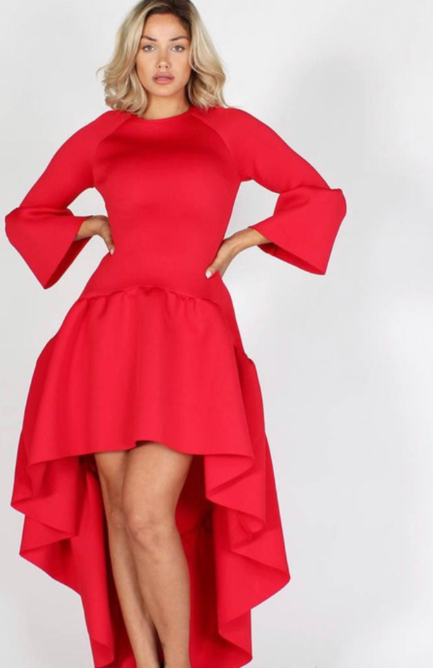 Image of Fierce Crew Neck High low Dress with Bell Sleeves