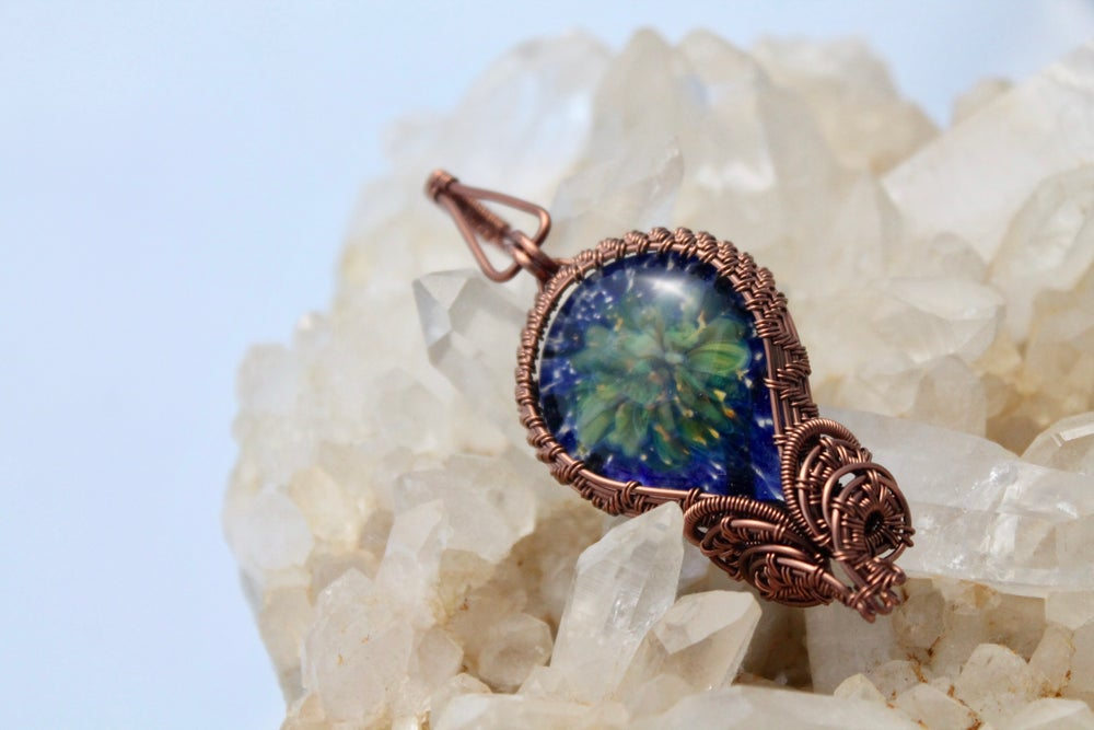 "Image of ""Olympia"" Large Wire Wrapped  Lampwork Glass Pendant in Copper Wire"