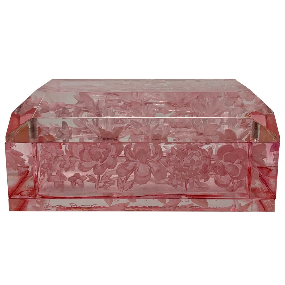 Image of Cherry Blossom Pink Desk Lucite Box