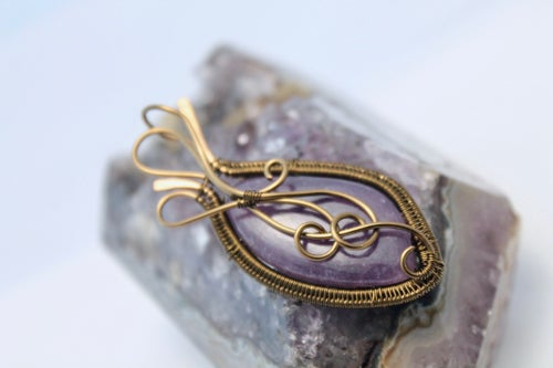 "Image of ""Zeenia"" Wire Wrap & Free Flow Wire Weaved Lepidolite Amulet Pendant"
