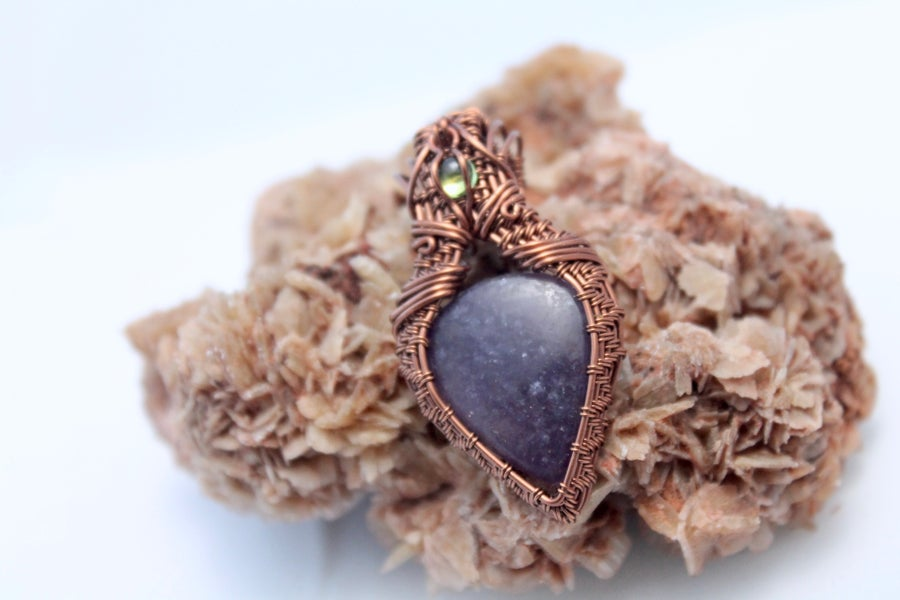 "Image of ""Florinda"" Large Lepidolite & Peridot Amulet Pendant"