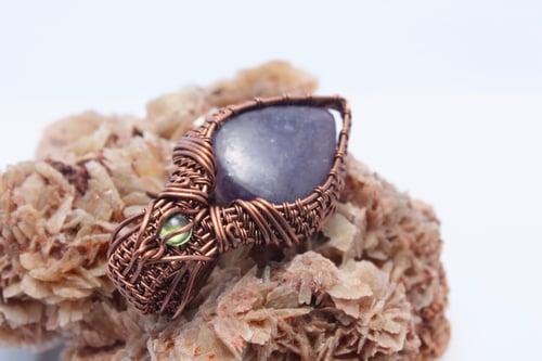 """Image of """"Florinda"""" Large Wire Wrapped Lepidolite & Peridot Amulet Pendant"""
