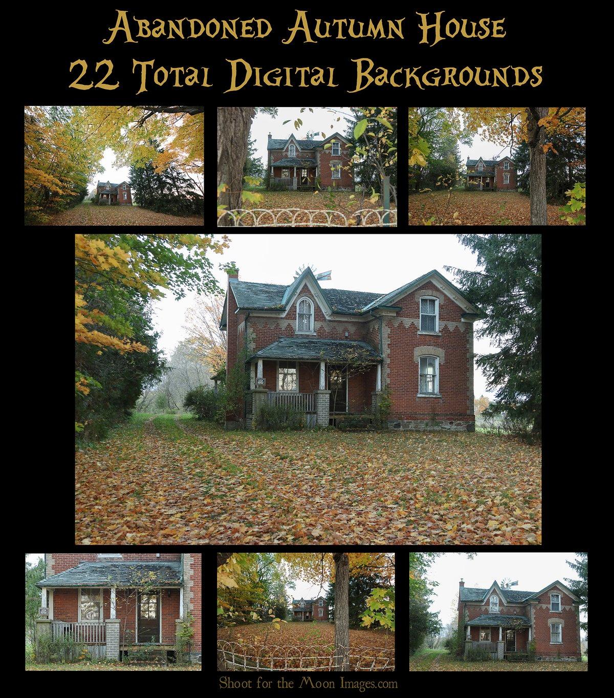 Image of Abandoned Autumn House Digital Backgrounds