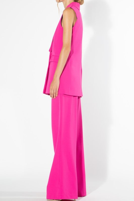 Image of Fuchsia Pink Vest Pant Suit