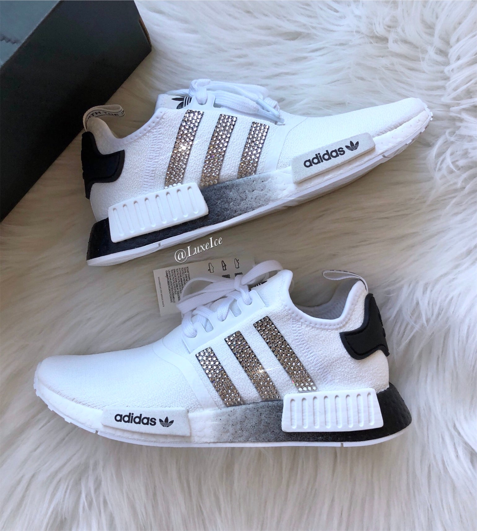 Adidas Nmd R1 White Black Customized With Swarovski Crystals