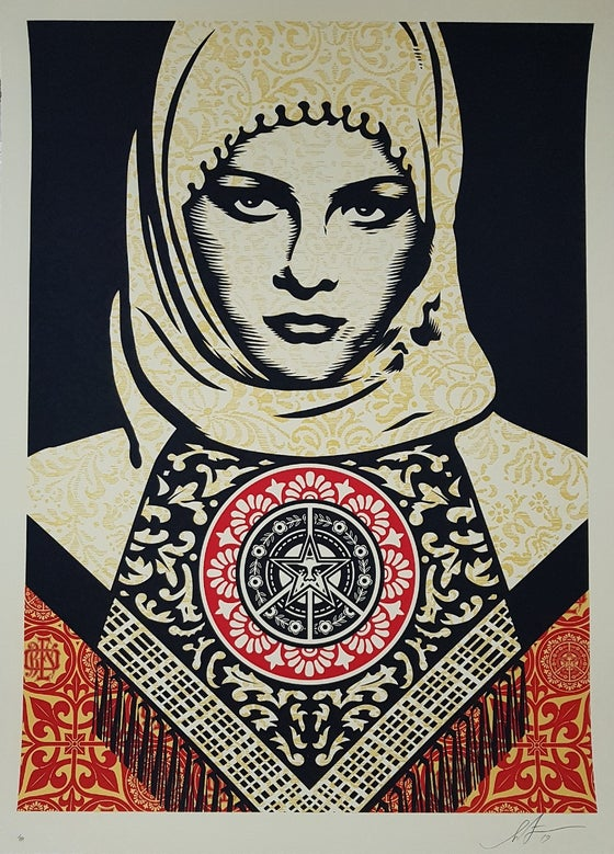 "Image of SHEPARD FAIREY LARGE FORMAT EDITION ""ARAB WOMAN"" - LTD ED 89 - 104CM X 76CM"