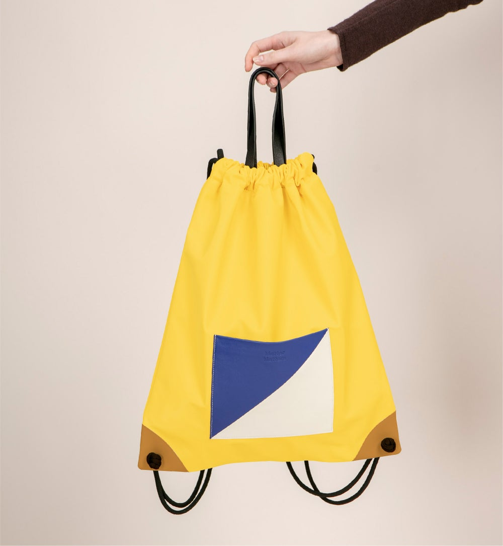 The square - Drawstrig Backpack • Yellow